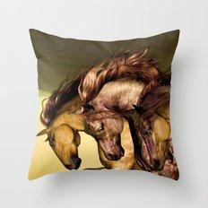 HORSES-Gunmetal Throw Pillow