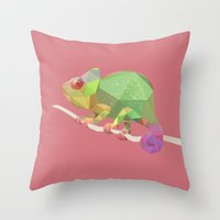 chameleon Throw Pillows featuring Chameleon. by Diana D'Achille
