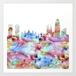 Barcelona Skyline Spain Art Print