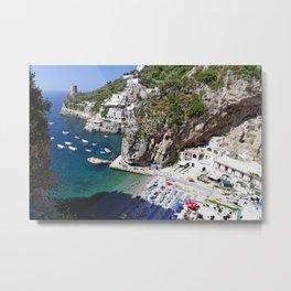 Praiano Beach, Campania, Italy. Metal Print