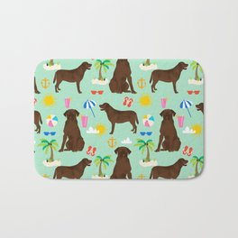 Chocolate Lab labrador retriever dog breed beach summer vacation dog gifts Bath Mat