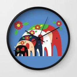Dala Elephants Wall Clock