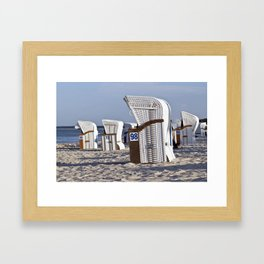 White Beach Chairs Framed Art Print
