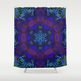 Bioluminescent Tribal Lotus Shower Curtain
