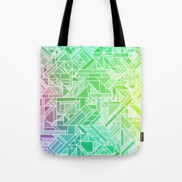 Bright Gradient (Violet Purple Lime Green Neon Yellow) Geometric Pattern Print Tote Bag