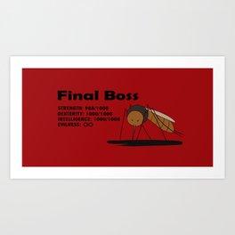 Final Boss - Red background Art Print