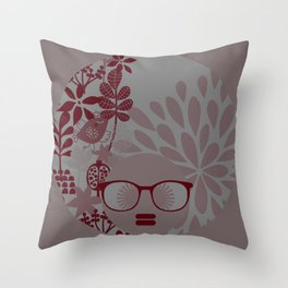 Afro Diva : Burgundy Sophisticated Lady  Throw Pillow