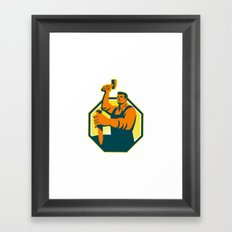 Carpenter Sculptor Hammer Chisel Retro Framed Art Print