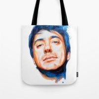 robert downey jr Tote Bags featuring Robert Downey Jr. by KlarEm