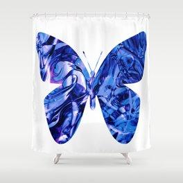 Fluid Butterfly (Blue Version) Shower Curtain