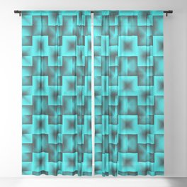 A grid pattern of light blue squares with black futuristic intersections and triangle weaves. Sheer Curtain