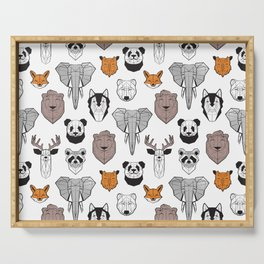 Friendly geometric animals // white background black and white orange grey and taupe brown animals Serving Tray