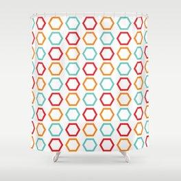 Red, Orange, & Blue Hexagons on White Shower Curtain