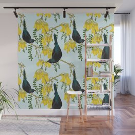 Tuis in the Kowhai Flowers Wall Mural
