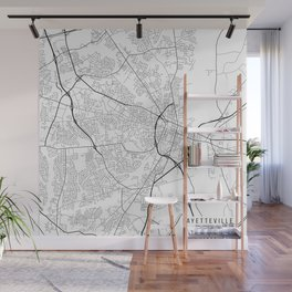 Fayetteville Map, USA - Black and White Wall Mural