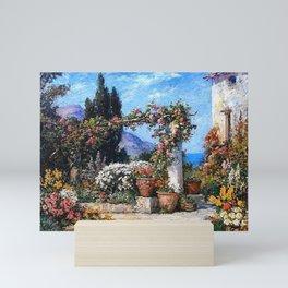 'A Parisian Garden' landscape floral garden painting by Tom Mostyn Mini Art Print