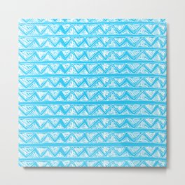 Simple Geometric Zig Zag Pattern - White on Teal - Mix & Match with Simplicity of life Metal Print