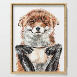 """"""" Morning fox """" Red fox with her morning coffee Serving Tray"""