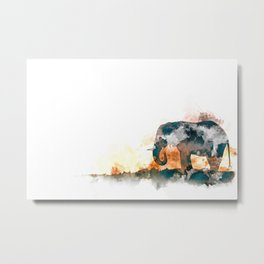 Watercolor Elephant Metal Print