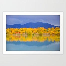 Autumn Reflection, South Island, New Zealand Art Print