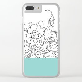 VESSEL - Floral Ink in Mint Green - Cooper and Colleen Clear iPhone Case