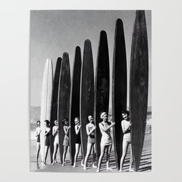 Surfers, Vintage Black and White Art Poster