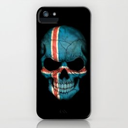Dark Skull with Flag of Iceland iPhone Case