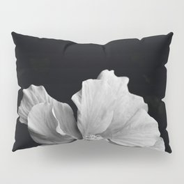 Hibiscus Drama Study - Black & White High Impact Photography Pillow Sham