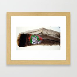Great Horned Owl on a Feather Framed Art Print