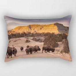 Buffalo Herd in Theodore Roosevelt National Park Rectangular Pillow