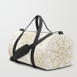 Stylish boho hand drawn golden mandala Duffle Bag