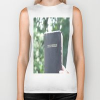 bible Biker Tanks featuring Holy Bible w/ bokeh by Hannah Chapman