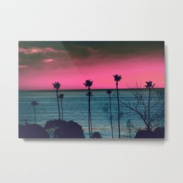 Pink Sunset, Palm Tree Silhouette Encinitas, California - Surfer Metal Print