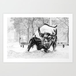 The Charging Bull, In the snow. Art Print