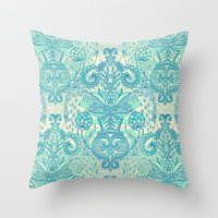 bedding Throw Pillows featuring Botanical Geometry - nature pattern in blue, mint green & cream by micklyn