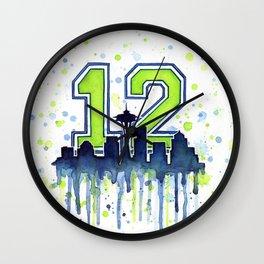 Seattle 12th Man Art Skyline Watercolor Wall Clock
