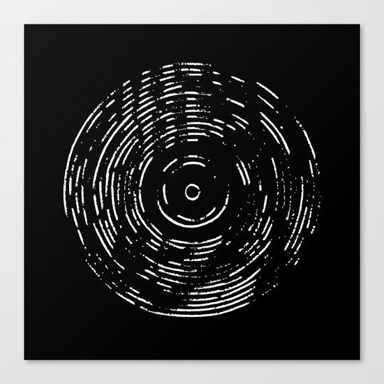 Record White on Black Canvas Print