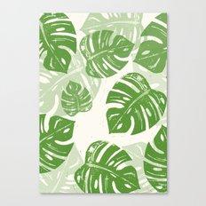 Linocut Monstera Leaf Pattern Canvas Print