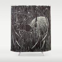 spider Shower Curtains featuring spider by Emily Tumen