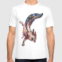 Cherry Blossom Axolotl Watercolor Artwork T-shirt