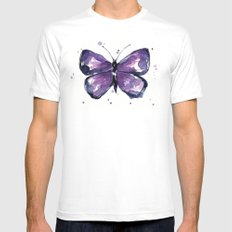 Purple Butterfly Watercolor Abstract Animal Art MEDIUM Mens Fitted Tee White