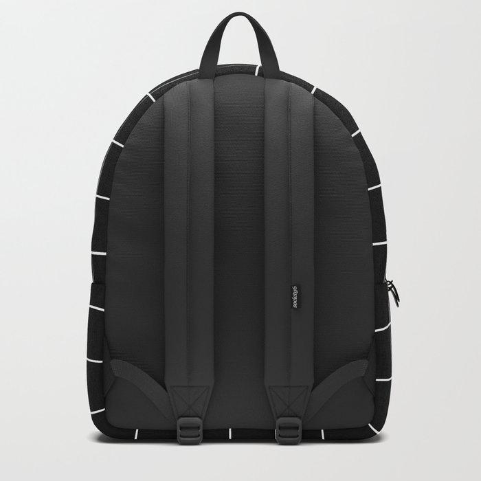 Grid Simple Line Black Minimalist Backpack