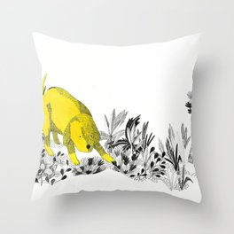 yellow dog Throw Pillow