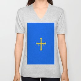 flag of asturias Unisex V-Neck
