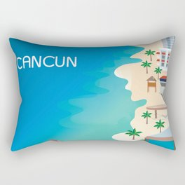 Cancun, Mexico - Skyline Illustration by Loose Petals Rectangular Pillow