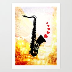 Sax and Love Art Print