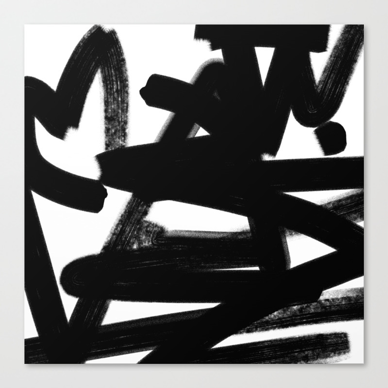 Thinking out loud black and white abstract painting raw brush strokes canvas print