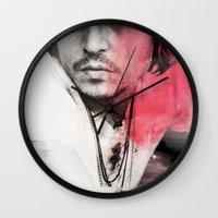 johnny depp Wall Clocks featuring Johnny Depp Artwork by E. Staugaard