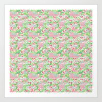 Baby Bamboo - pink & green Art Print