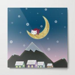 Moon Kitten Metal Print